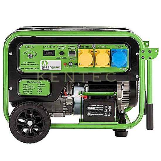 Greengear GE-5000 LPG Only Generator - AVR - Electric Start