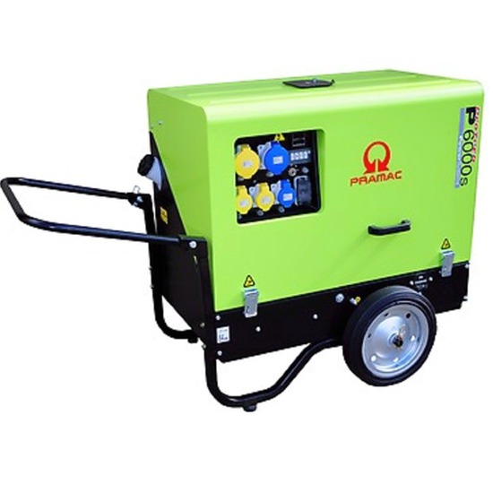 Pramac P6000s 230/115v - low noise - diesel generator with trolley kit.
